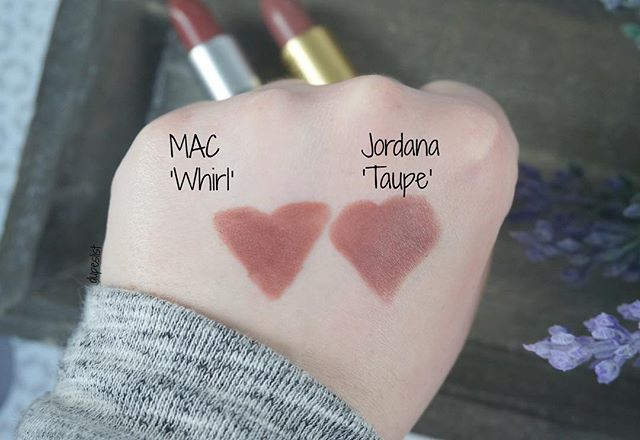 Swatches!!! MAC Whirl (20,50€) vs. Jordana Cosmetics 'Taupe' (3-4€) What do you…
