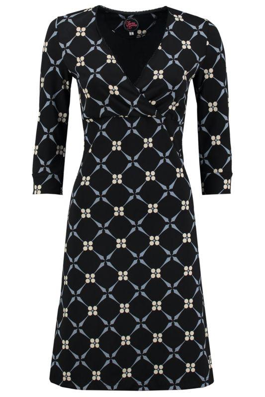 Tante Betsy Crossover Dress Royal Black print jurk zwart