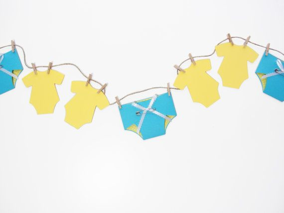 Baby Shower Decoration  Blue and Yellow by JacqsCraftyCorner