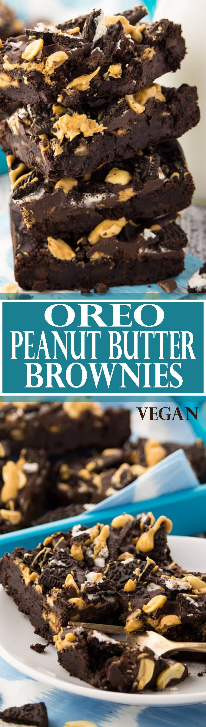 These vegan Oreo peanut butter brownies are super chocolatey, fudgy, and incredibly delicious! One of my favorite vegan desserts or vegan recipes in general! SO good! <3 | veganheaven.org