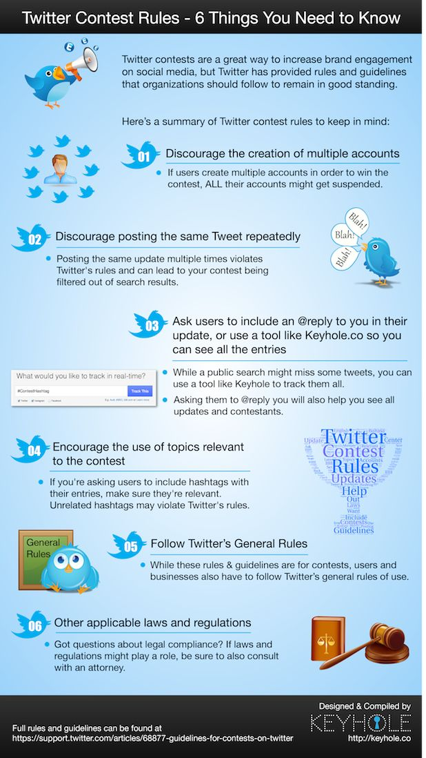 Twitter Contest Rules - 6 Things You Need to Know #twitter #infographic