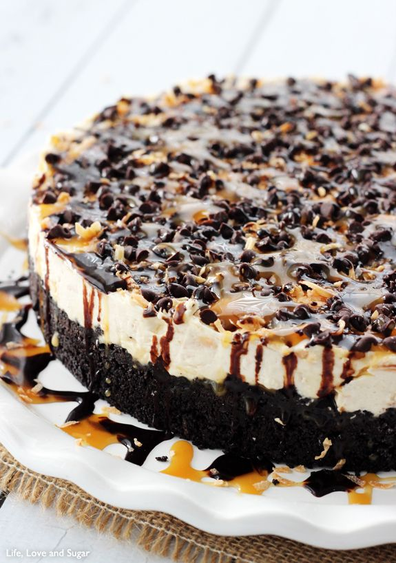 Yumm! No Bake Samoa Cheesecake - You don't even need the cookies, so you can make it all year long!