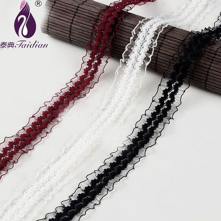 Taidian29mm lebar Putih Hitam Murah Kain Renda Potong Ribbon 9.14 M/lot DIY Garment Aksesoris bordir renda pita Rambut