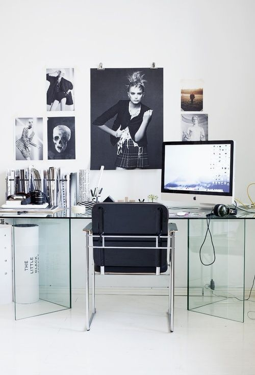 glass desk posters on the wall minimalisttransparent office design idea for decor and work lovers