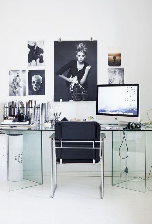 glass desk.minimalist and transparent look