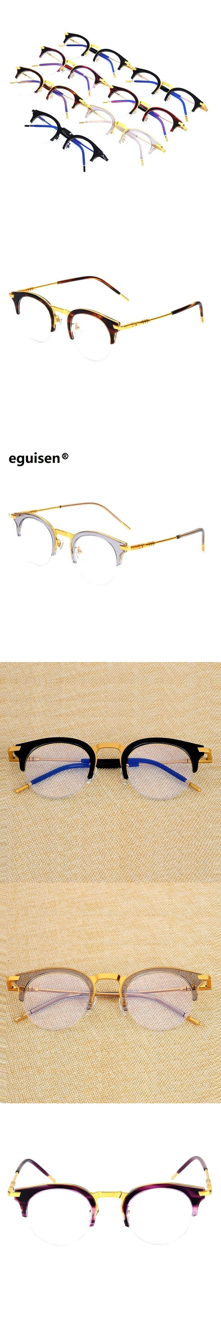 52-18-148 High grade super light plate retro spring legs male and female semi-rimless glasses frame mirror 90S-5 oculos de grau