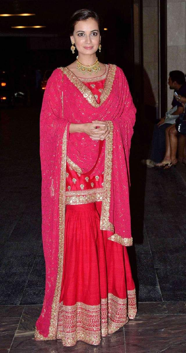 Dia mirza in red sharara kurti suit.  Visit Ethnico website for more bollywood's fashion- http://www.ethnicoapp.com/tag/bollywood