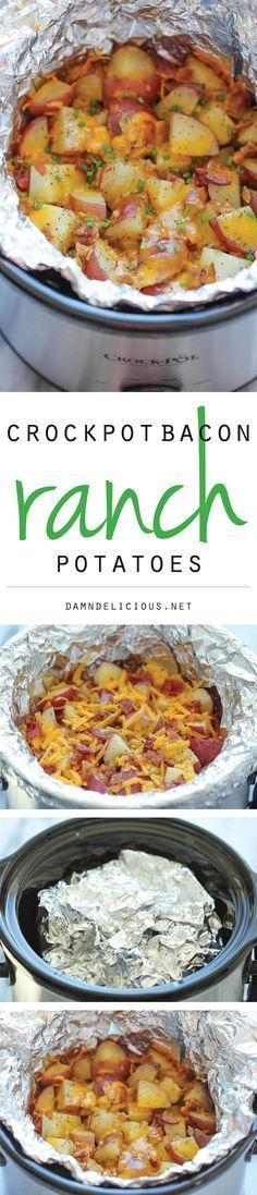 Slow Cooker Cheesy Bacon Ranch Potatoes (bacon, red potatoes, shredded cheddar cheese, ranch seasoning, chives)