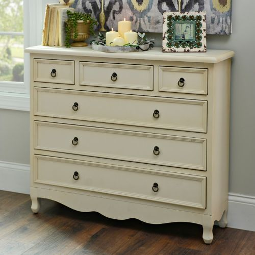 41.75L x 12W x 36H in.   Camille Distressed Cream Chest | Kirklands