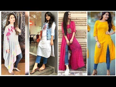 b635885573 #Latest #kurta /kurti with #jeans || #unique #kurti #designs with #jeans -  YouTube