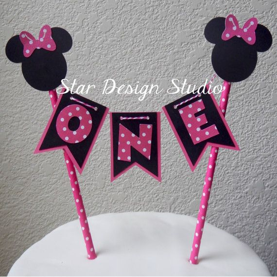Minnie Mouse Cake Topper Birthday Bunting cake by stardesignstudio