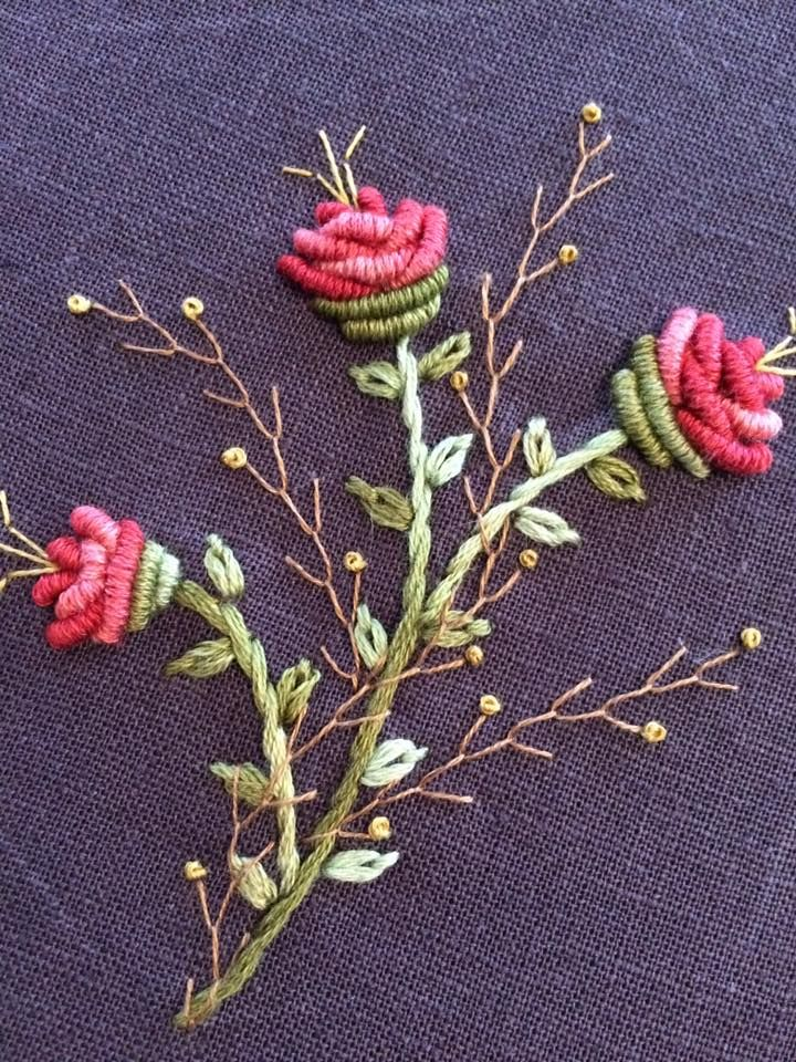 bullion knot floral embroidery