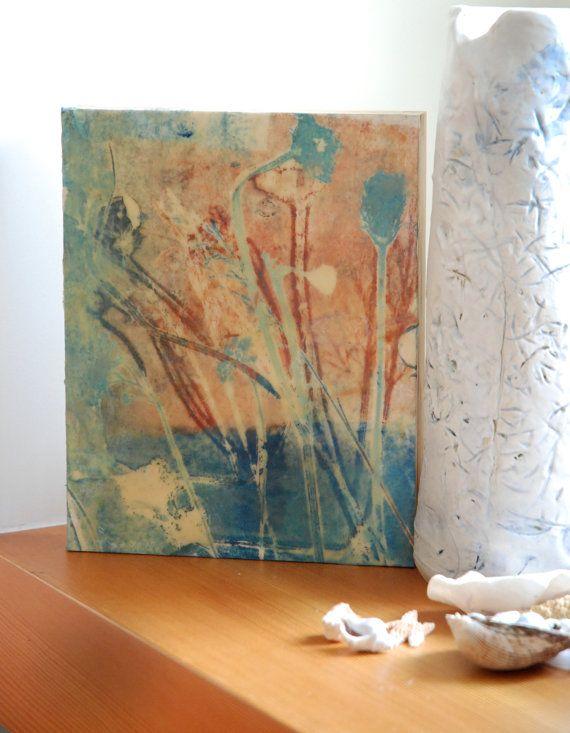 Encaustic painting  original art  handmade  TEAL by HelenKilsby, $80.00