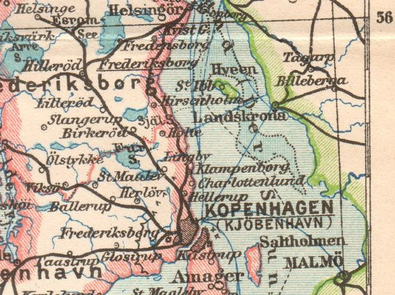 details from #Denmark #Antique Map Printed in 1897, Lithograph, German Map, Old maps