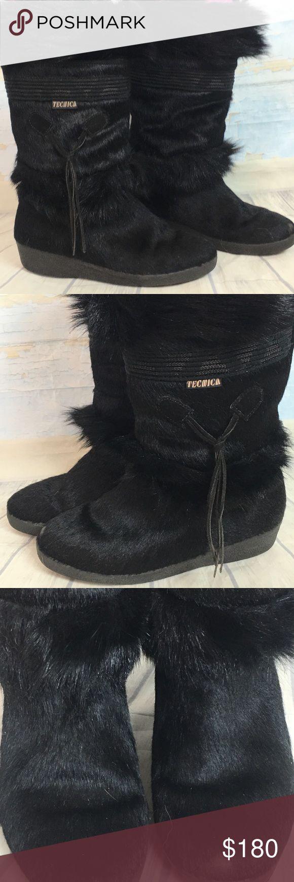 Técnica goat fur black ski snow boots 40 9 9.5 Black técnica goat fur after ski boots, warm shearling lined, and excellent condition. Size 40 will fit 9 9.5. Tecnica Shoes Winter & Rain Boots