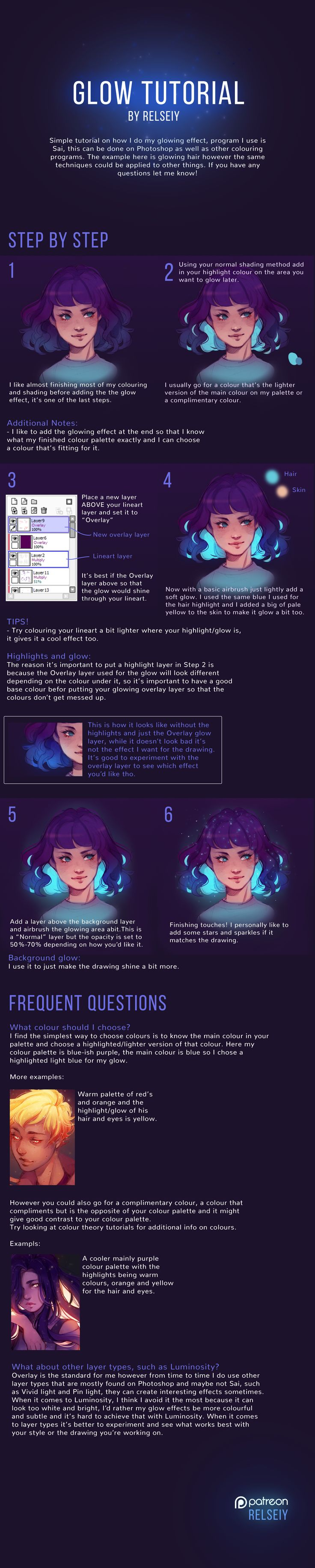 Official Post from Relseiy: Full version of my Glow tutorial, this isn't the only way of achieving a glowing effect but it's just how I do it, hopefully you'll find this helpful in some way! Comment what other tutorials you'd like to see next! Whenever I post a tutorial I'll be making a more detailed version here for Patreon,