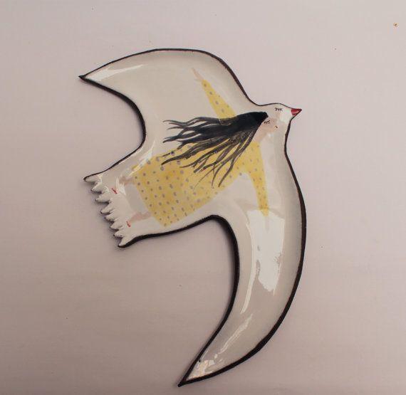 Sleepy vogel ang vliegen meisje  een lepel rust met door clayopera