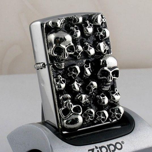 Japanese High Polished Skull Emblem Zippo Lighter
