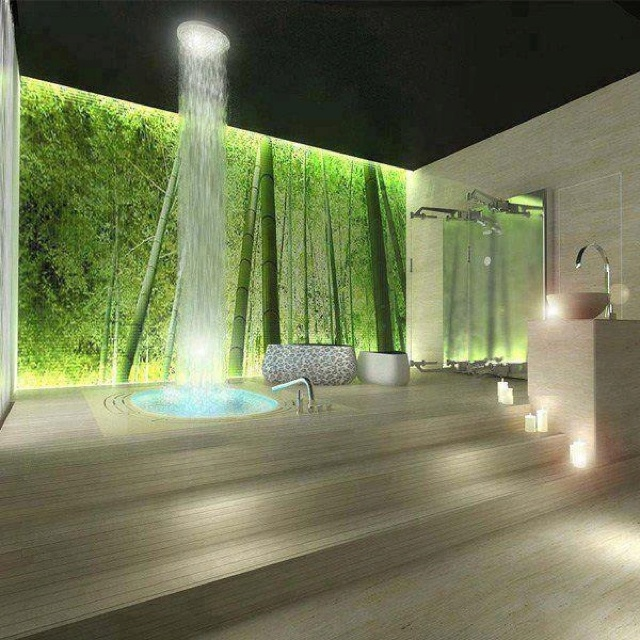 Waterfall shower - want!