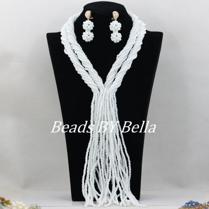 Opaque White Bridal Jewelry Sets Nigerian Wedding African Beads Jewelry Set 4mm Crystal Strands Necklace Free Shipping ABF144 www.bernysjewels.com #bernysjewels #jewels #jewelry #nice #bags