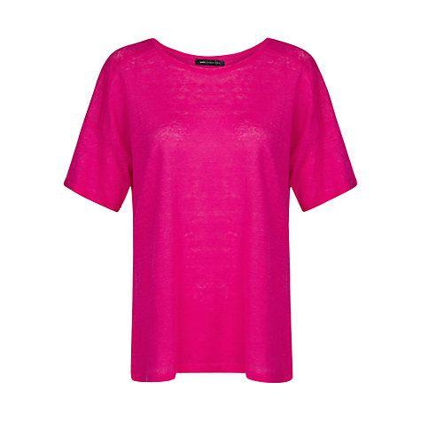 Buy Mango Linen T-Shirt, Bright Pink Online at johnlewis.com