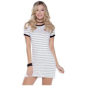 Vestido Juvenil Para Mujer Marketing Personal 51431 Blanco Rayas