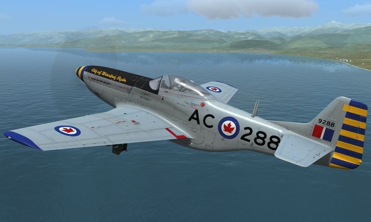 "Mustang 9288 of No. 402 ""City of Winnipeg"". Squadron, RCAF Auxiliary, based at Stevenson Field, Winnipeg, Canada, circa early 1950s. Read more: http://simhq.com"