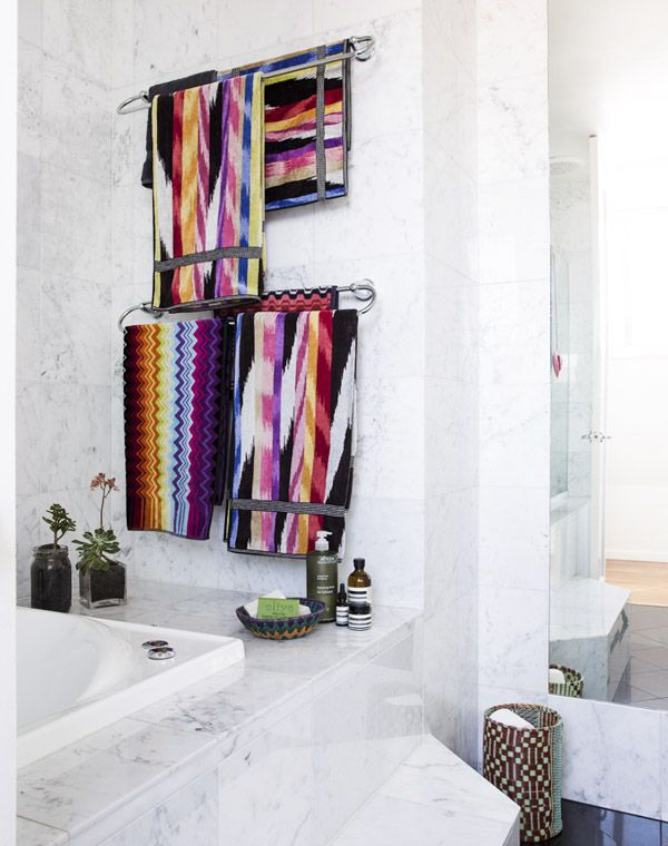 Main bathroom – Love the Missoni towels, such an injection of colour! These were another wedding gift for Letitia and Michael.  Photo - Sean Fennessy, production – Lucy Feagins / The Design Files.