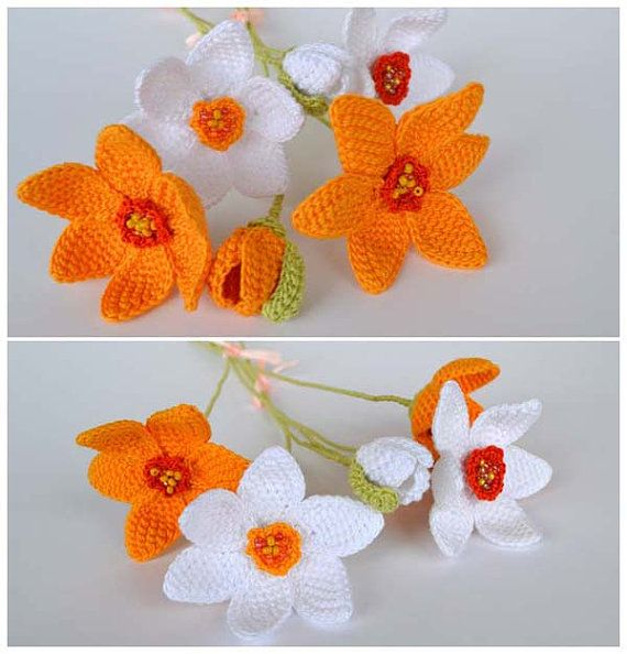 ooak daffodils crochet bouquetecofriendly spring by Marmotescu