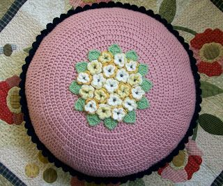 Round flower cushion by Knot Garden. How to and links in post.