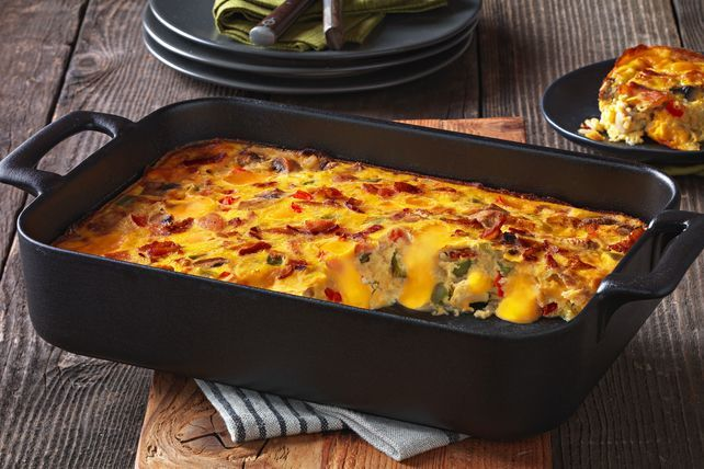 Top bacon, eggs & hash browns with melty VELVEETA in one delicious hash brown bake. Our VELVEETA® Cheesy Hash Brown Bake is everything you want for brunch.