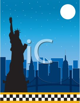 Royalty Free Clipart Image of the New York Skyline