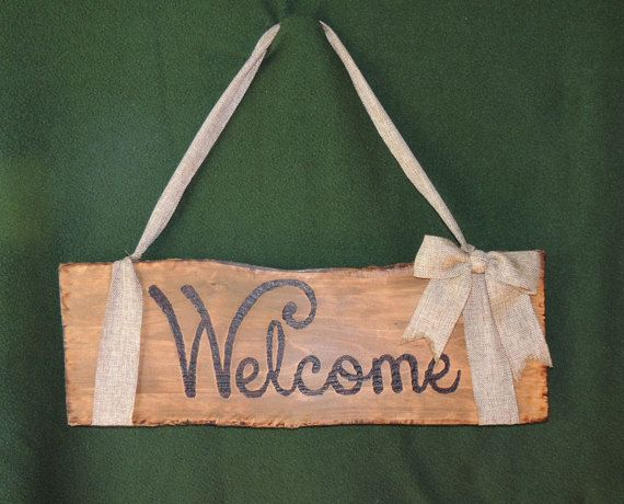 Cypress Welcome Sign Hand Burned with Burlap by MuddyBayouBoutique