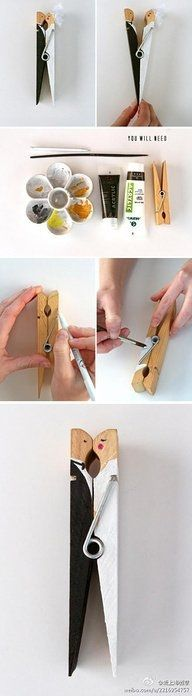 DIY..... what an adorable DIY craft! Bride and Groom clothes pin. Perfect little gift for a bridal shower or wedding favor..