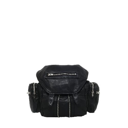 THE Backpack! DETACHABLE AND ADJUSTABLE SHOULDER STRAP- DETACHABLE SHOULDER STRAPS WITH ZIP- SNAP FASTENER CLOSURE- FRONT ZIP DETAIL- FOUR SIDE ZIP POCKETS- ONE ZIP POCKET ON THE FRONT FLAP- ONE INTERNAL ZIP POCKET- SILVER COLORED METAL HARDWARE- LINED- SIZE: 28 X 30 X 12 CM- 100% LEATHER