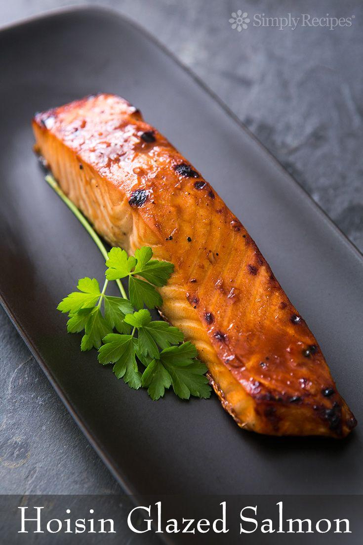 Hoisin Glazed Baked Salmon ~ Quick and easy broiled salmon fillets with a hoisin sauce glaze. Great idea for a romantic dinner! ~ SimplyRecipes.com