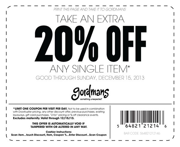 Gordmans Printable Coupons December 2013