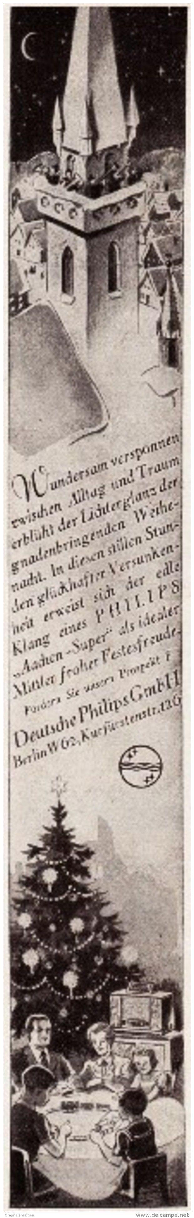 Original-Werbung/ Anzeige 1934 - PHILIPS AACHEN - SUPER RADIO - ca. 30 x 220 mm