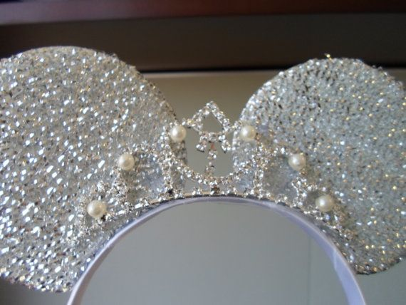 Princess Tiara Silver/White Minnie Sparkly. Perfect for Brides, Quinceñera, Sweet 16, Disness Princess Celebration - by Mamaof3CraftSupplies, $22.00