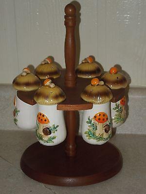 Vintage Sears Merry Mushroom REVOLVING WOOD SPICE RACK WITH 6 JARS