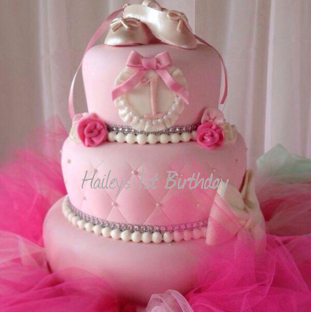My Baby Girl Bithday Cake Hailey Is One Pink Ballerina