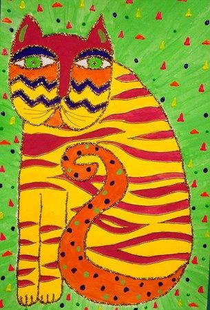 Laurel Burch cat (teacher example- Donna Staten)    (Idea: draw in pencil, glue lines, tin foil, colored sharpies/paint)