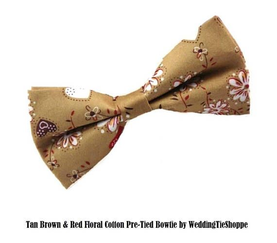 Tan Brown Red Paisley Floral Bowtie Wedding Bow Tie Cotton