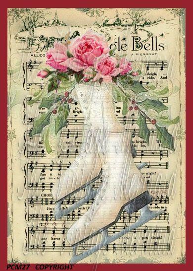 Ice Skates Jingle Bells Music Sheet Quilting by mermaidfabricshop