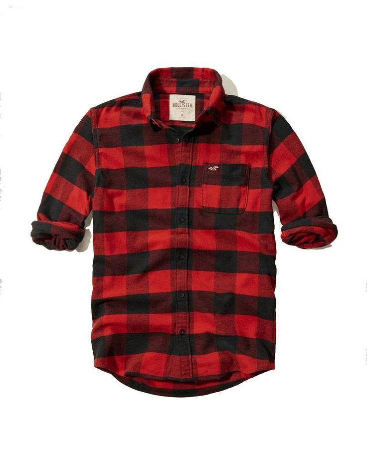 Hollister Mens Shirt Flannel Plaid Red Black