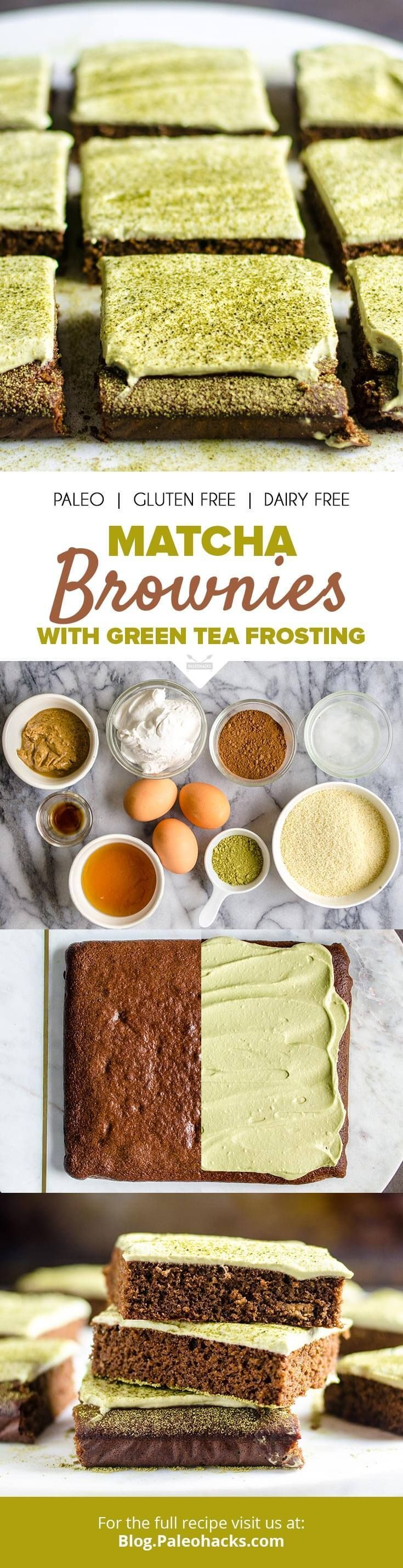 Whip up these heavenly matcha brownies covered in a velvety smooth matcha frosting. Get the recipe here: http://paleo.co/matchabrownie