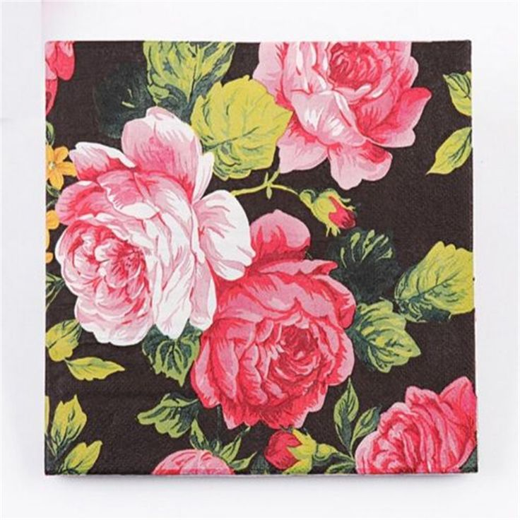 Wedding Birthday Party Rose Floral Paper Napkins 33X33CM 1 Pack 20 PC