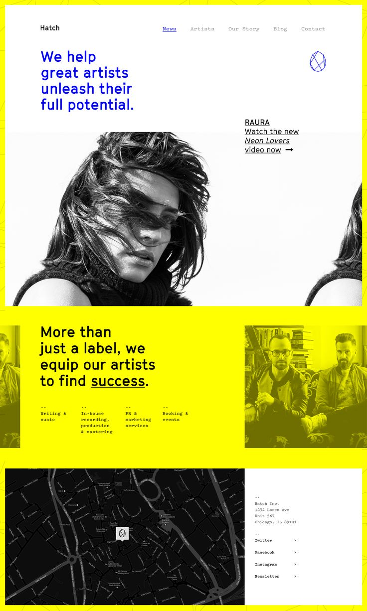 Hatch Music Label Website Landing Page #webdesign