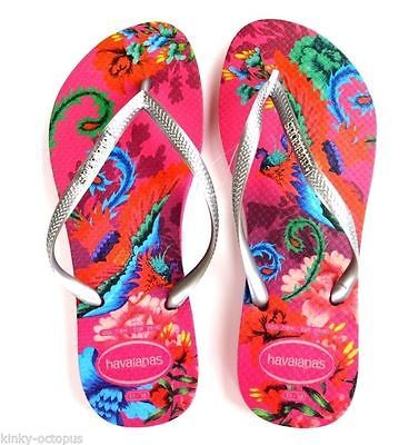 KinkyOctopus-Havaianas-Slim-Tropical-Pink-Soles-Silver-Straps-UK4-5-6-EU37-8-9