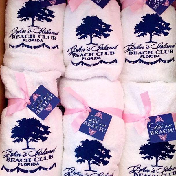 Custom beach towels to go inside a #wedding #welcome #bag for a Vero Beach wedding. Featuring the couple's custom wedding #monogram I Custom by Nico and Lala